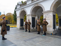 Warsaw, Tomb of the Unknown Soldier. WARSAW, POLAND - OCTOBER 30, 2014: Tomb of the Unknown Soldier and the Honor Guard, since 1925. Part of the Saxon Palace at Royalty Free Stock Image