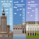 Warsaw tourist landmark banners. Vector illustration with Poland famous buildings. Stock Photography