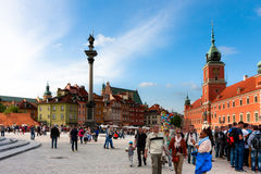 Warsaw, tourists at Castle Square Stock Photography