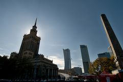 Warsaw towers in backlit Stock Photography