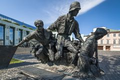 Warsaw Uprising Monument in Warsaw - closeup Stock Image