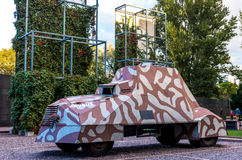 Warsaw Uprising Museum. Copy of the armoured fighting vehicle KUBUS, manufactured by the insurgents during the Warsaw Uprising - Warsaw, Poland Stock Photos