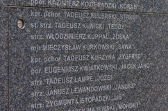 Warsaw Uprising Museum. Fragment of the Memorial Wall with the names of thousands of insurgents who were killed during the Uprising - Warsaw, Poland Royalty Free Stock Images