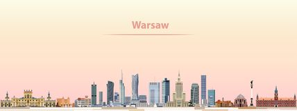 VWarsaw vector city skyline at sunrise Royalty Free Stock Photos