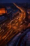 Warsaw vid natt royaltyfri fotografi