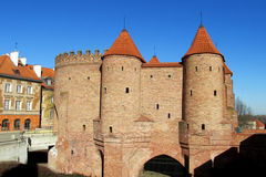 Warsawa old town castle Barbican royalty free stock photos