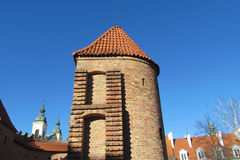 Warsawa old town castle, Warsaw Barbican stock photography