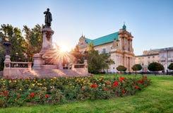 Warschau- - Adam Mickiewicz-Monument an str Krakowskie Przedmiescie Lizenzfreies Stockbild