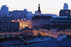 Warschau-Architektur am Sonnenuntergang stockbilder