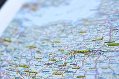 Warschau auf der Karte stockfotos