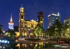 Warschau bis zum Night Stockbilder