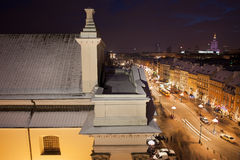 Warschau bis zum Night lizenzfreie stockbilder