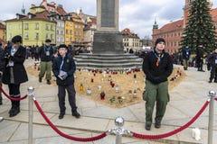 Warschau houdt Begrafenis voor Moord Burgemeester Adamowicz stock fotografie