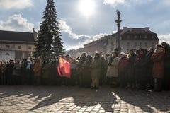 Warschau houdt Begrafenis voor Moord Burgemeester Adamowicz royalty-vrije stock foto's