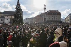 Warschau houdt Begrafenis voor Moord Burgemeester Adamowicz royalty-vrije stock afbeeldingen