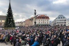 Warschau houdt Begrafenis voor Moord Burgemeester Adamowicz stock foto