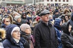 Warschau houdt Begrafenis voor Moord Burgemeester Adamowicz royalty-vrije stock fotografie
