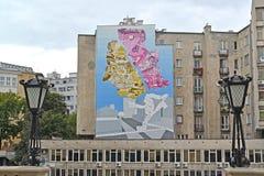Warschau, Polen Graffiti auf einer Gebäudewand auf einer Gebäudewand auf Tamk-Straße Stockbild