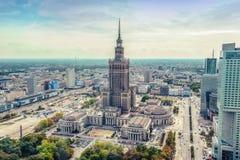 Warschau/Polen - 09 15 2015: Vogelperspektive des Palastes der Kultur und der Wissenschaft Stockfoto