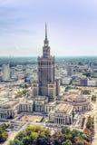 Warschau/Polen - 09 15 2015: Vogelperspektive des Palastes der Kultur und der Wissenschaft Stockfotos
