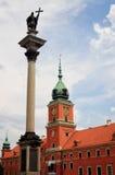 Warschau-Schloss-Quadrat mit König Sigismund III Vasaspalte. Stockfotos
