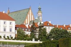 Warschaus alte Stadt mit einem sichtbaren der Kirchturm Lizenzfreies Stockbild