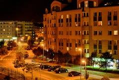 Warshau bij nacht. Stock Foto