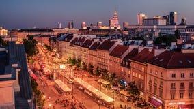 """WARSHAU, POLEN € """"5 AUGUSTUS, 2017: de oude stad, Krakowskie Predmiescie Royalty-vrije Stock Afbeeldingen"""