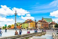 """Warshau, Polen †""""14 Juli, 2017: Plac Zamkowy - het kasteelvierkant in Warshau Stock Foto's"""