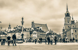 "Warshau, Polen †""14 Juli, 2017: Plac Zamkowy - het kasteelvierkant in Warshau in Oude Stad met koninklijk paleis Royalty-vrije Stock Foto"