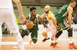 30 12 2017, Warshau, Polen, de Poolse Gelijke van de Basketbal Hoogste Liga: Miasto Szkla Krosno - Legia Warschau Royalty-vrije Stock Foto