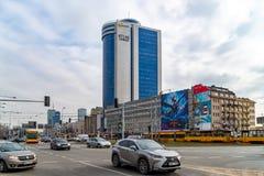 Warshau Polen 18 februari, 2019 Atlastoren Weergeven van het gebouw van de weg royalty-vrije stock afbeelding