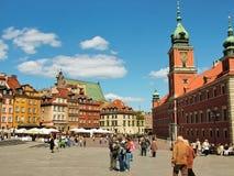Warshau, Polen - het Paleisvierkant in de oude stad Stock Foto