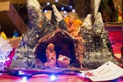 WARSHAU, POLEN - JANUARI 01, 2016: De scène van de Kerstmisgeboorte van christus Royalty-vrije Stock Afbeeldingen