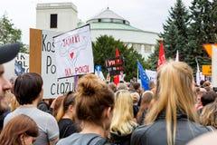 Warshau, Polen, 2016 10 01 - protesteer tegen anti-abortuswet F Stock Foto