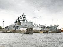 Warship. In the channels of Copenhagen Royalty Free Stock Images