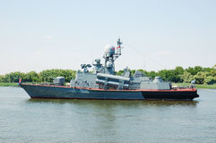 Warship. On a Volga river, Russia royalty free stock images