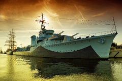 Warship. Destroyer serving in the Polish Navy during World War II, currently preserved as a museum ship in Gdynia, Poland royalty free stock photo