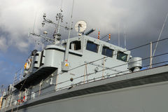 Warship. Detail of Royal Navy warship hull & bridge stock images