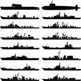 Warship. Vector illustration of various warships with white background Stock Photography