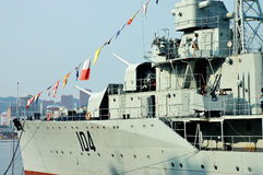 Warship. The No. 104 warship is anchored in Dalian port, China. Many tourists come to visit theship stock images