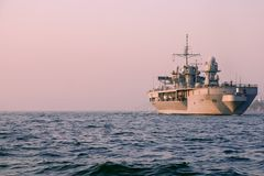 Warship. A US Warship in foreign waters royalty free stock photo
