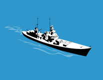 Warship as viewed from above Stock Photography