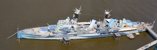 Warship Belfast on the River Thamres London Royalty Free Stock Photography