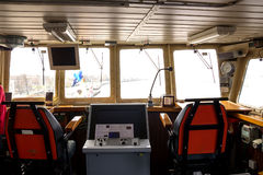 Warship command bridge. A modern NATO warship command bridge wheelhouse royalty free stock photos