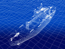 Warship 3d wire frame on water Stock Photos