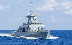 Warship drives in sea. A warship drives in sea Royalty Free Stock Photo