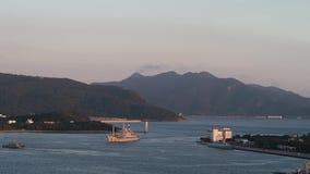 Warship entering bay