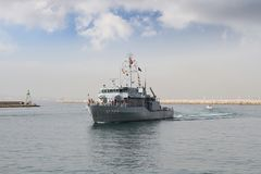 Warship entering in the port of Alicante in Spain. Royalty Free Stock Photography