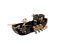 Warship future. Black flies on ship engines rektivnyh Steampunk on a white background Royalty Free Illustration